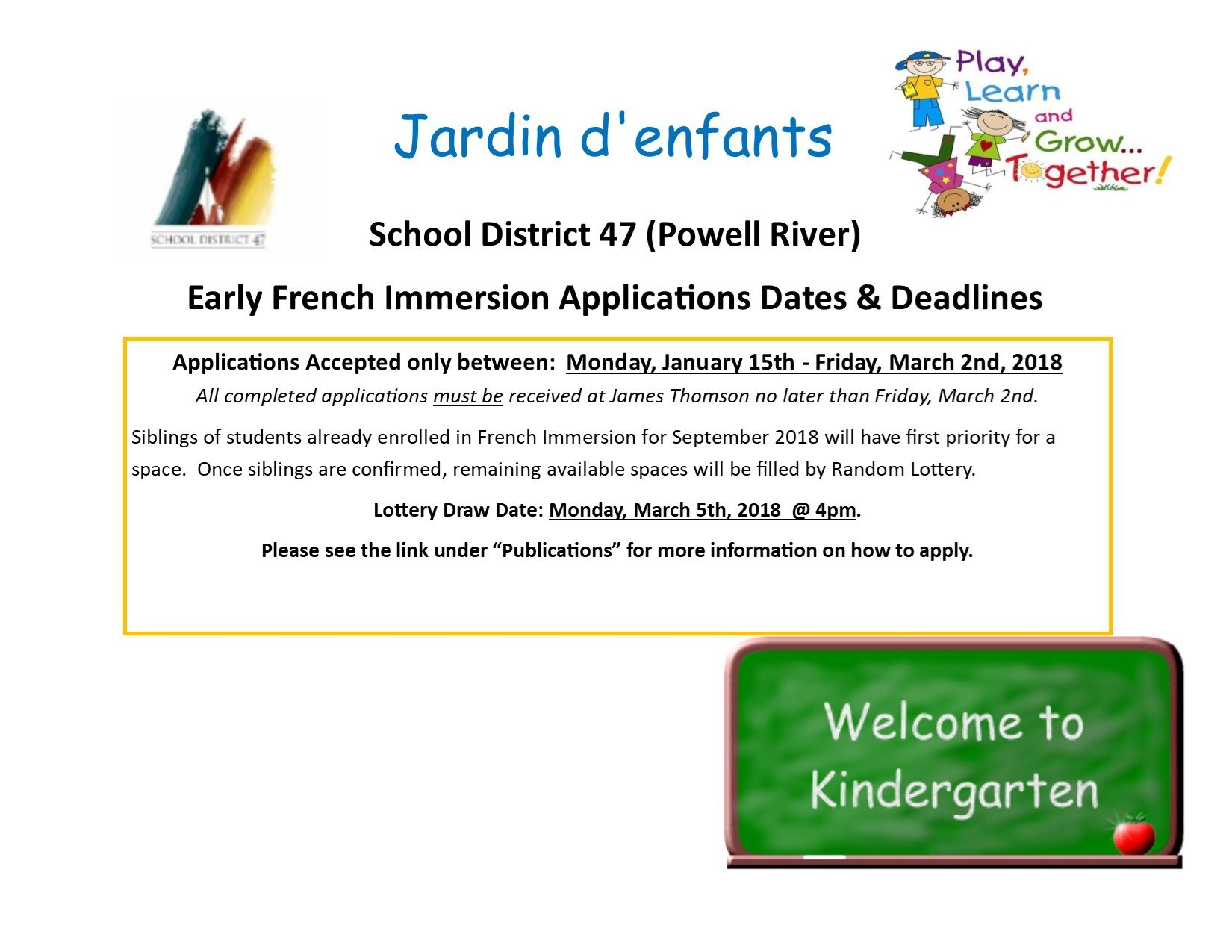 French Immersion Applications Accepted Jan 15th - Mar 2nd, 2018