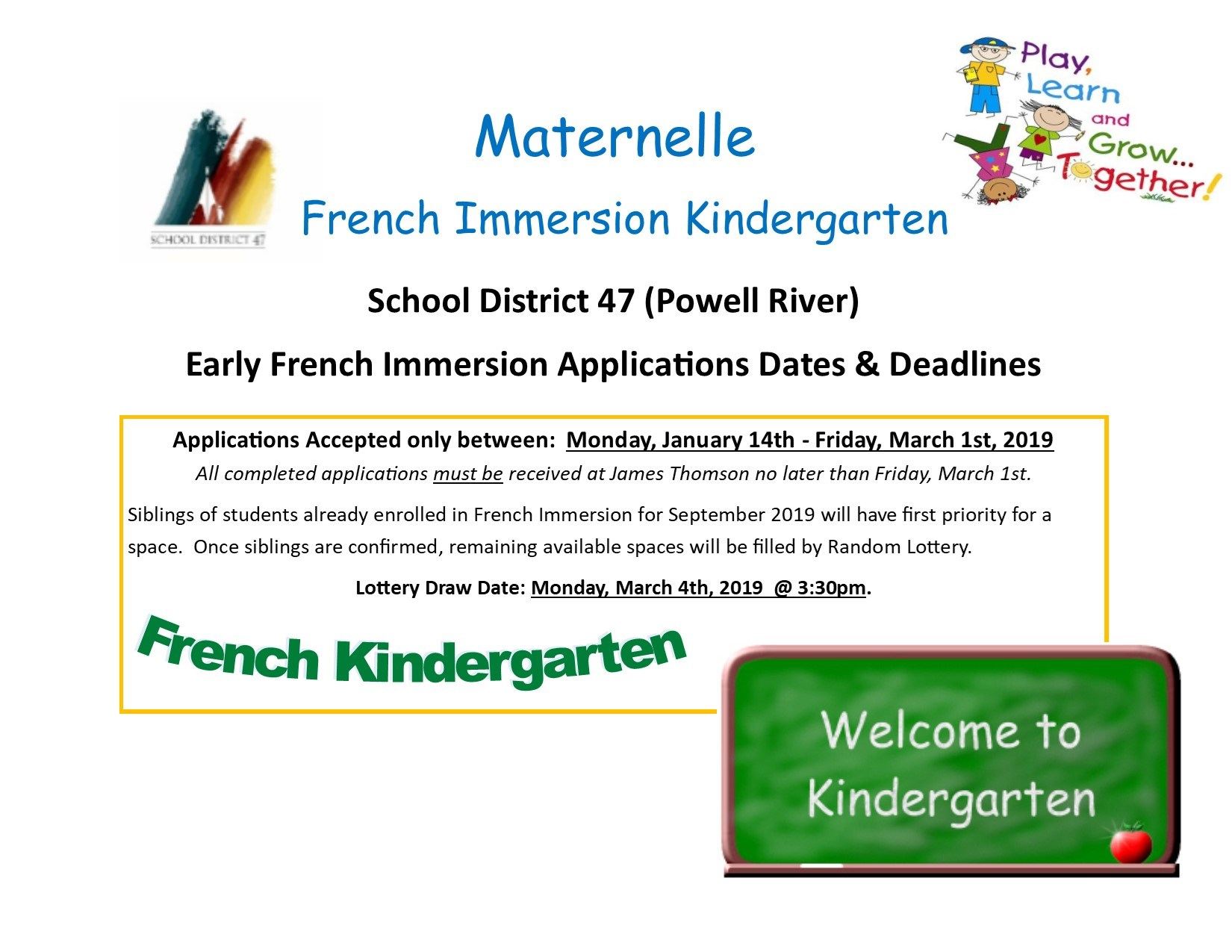 French Immersion Kindergarten Applications for Sept 2019 - Accepted Now through March 1st