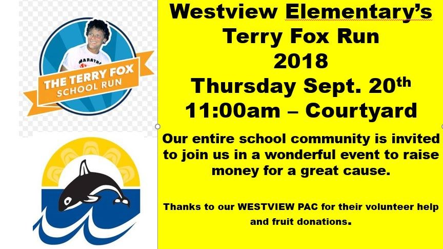Westview Elementary's 2018 Terry Fox Run